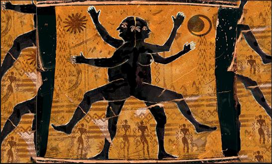 Androgyne, detail on ancient greek amphora.