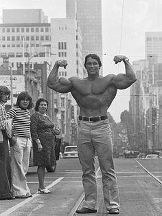 1974: Arnold Schwarzenegger in Melbourne, Australia.