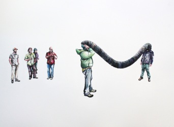 "Michelle Ramin 'Ben and Travis Find a Tube' [Watercolor on Paper, 22"" x 30"", 2015]"