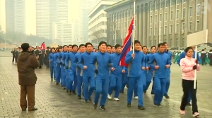 Healthy North Koreans exercising for the Supreme Leader.