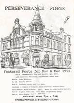 Flyer for Perseverance Poets readings, 1992.