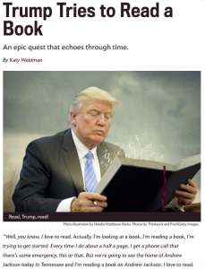 Trumps epic struggle to read a book (from Slate.com)